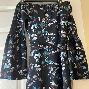 Silver Bloom Bardot Midi Dress Trumpet Sleeves